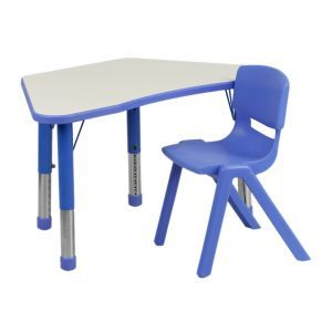 Clasroom Plastic Trapezoid Activity Table with 1 Stack Chair