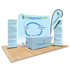Trade Show Booth Displays with Flags, Back Walls and Banners