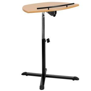 Portable Height Adjusting Mobile Laptop Table or Speaker Lectern with Natural Top