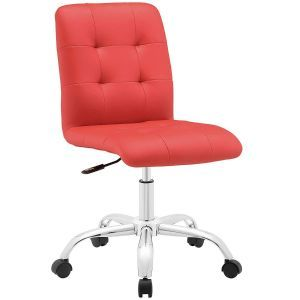 Stylish Mid-Back Square Tufting Vinyl Swivel Armless Executive Office Chair